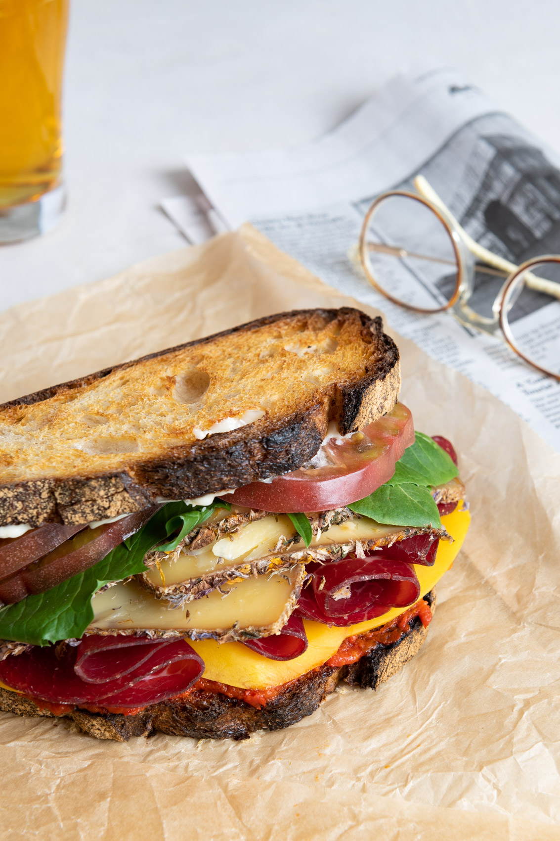 Morgan Ione | NYC + Chicago + Boston Commercial Food Photographer - Sandwich and Beer