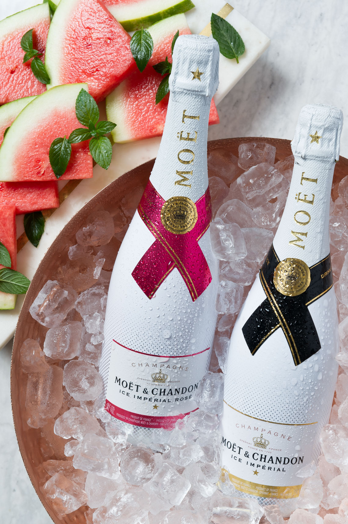 Morgan Ione | NYC + Chicago + Milwaukee Food and Beverage Photographer - Moet Chandon on ice with watermellon