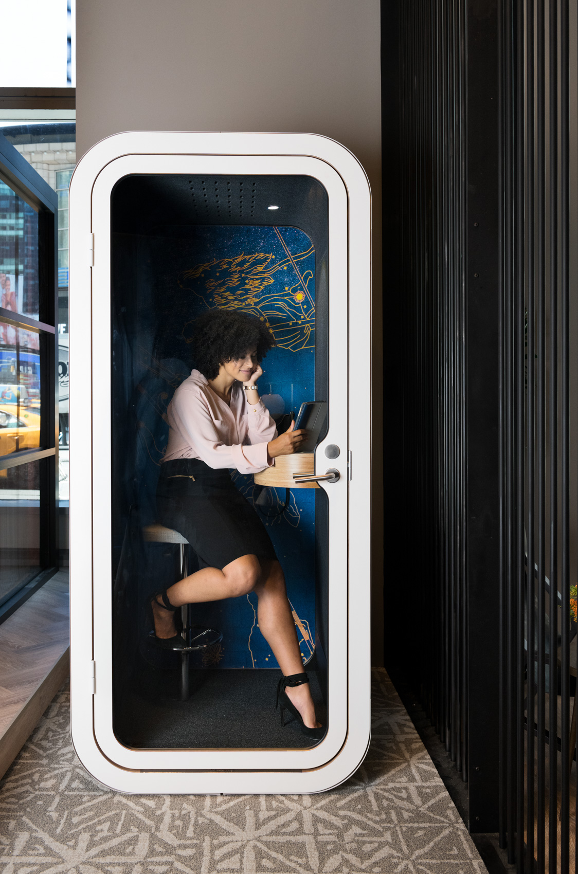 NYC, Chicago, and Boston Hospitality Photographer - Sheraton Girl In Phone Booth