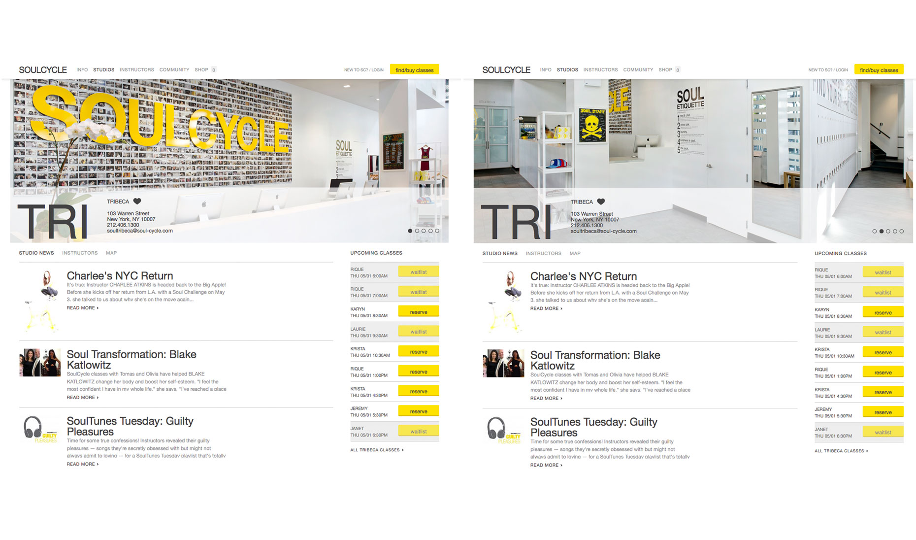 NYC SoulCycle, interior, website, architecture ,lobby, lockers, soul etiquette, SoulCycle retail